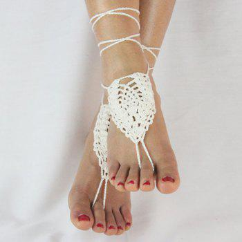 Pair of Gorgeous Geometric Woven Sandal Anklets - WHITE