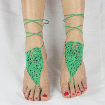 Pair of Gorgeous Geometric Woven Sandal Anklets