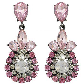 Pair of Vintage Faux Crystal Rhinestone Water Drop Earrings For Women