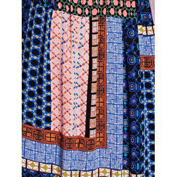 Bohemian Women's Fitted Spaghetti Strap Check Printed Dress - PURPLISH BLUE L