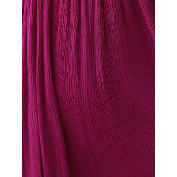 Elegant Plunging Neck Backless Red Dress For Women - WINE RED 2XL