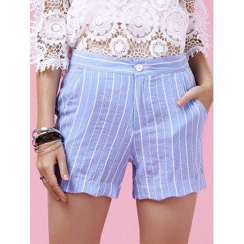 Sweet Striped Wavy Hem Design Shorts For Women