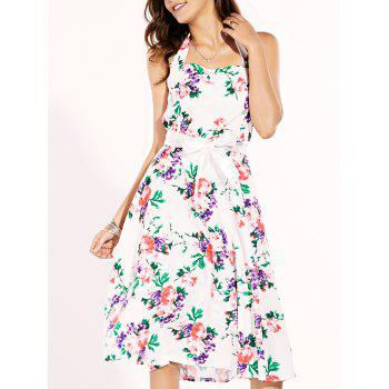 Vintage Women's Halter Floral Print Midi Dress