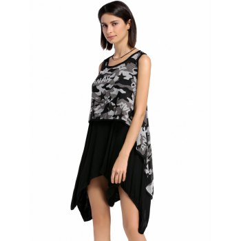 Stylish Women's Scoop Neck High Low Printed Faux Twinset Tank Top - BLACK ONE SIZE(FIT SIZE XS TO M)