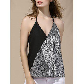 Halter Backless Sequin Tank Top