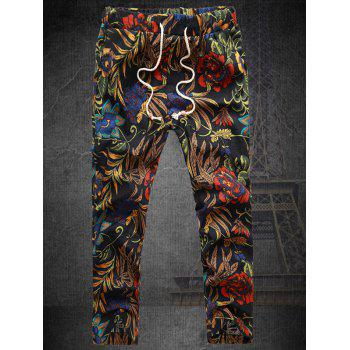 Leaves and Flower Print Plus Size Lace-Up Straight Leg Men's Nine Minutes of Pants