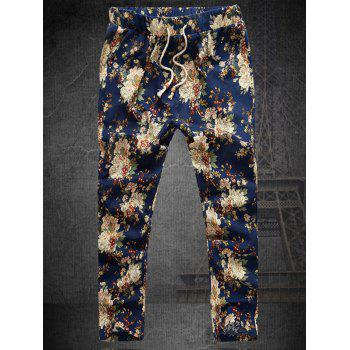 Straight Leg Lace-Up Plus Size Men's Floral Nine Minutes of Pants