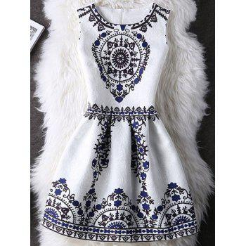Tribal Pattern Zipper Design A Line Dress For Women