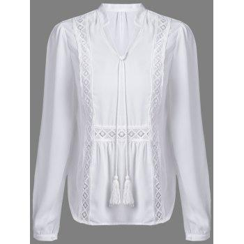 Alluring Women's V-Neck Long Sleeve Hollow Out White Blouse