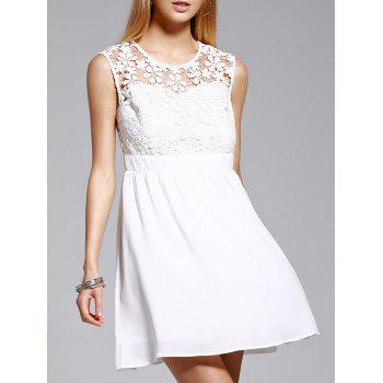 Trendy Jewel Neck Sleeveless Lace Spliced Dress For Women