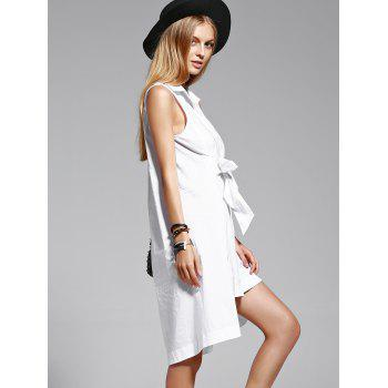 Trendy Pure Color Shirt Sleeve Flounce Dress For Women - WHITE L