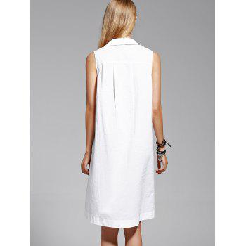 Trendy Pure Color Shirt Sleeve Flounce Dress For Women - WHITE S