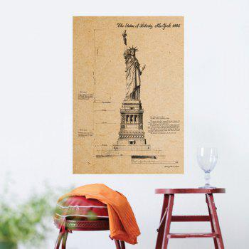 Creative Statue of Liberty Pattern Kraft Paper Poster Wall Sticker For Home Decoration - SOIL