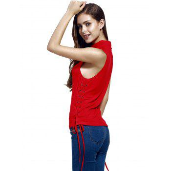 Chic Stand Neck Pure Color Lace-Up Tank Top For Women - RED S