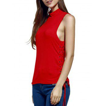 Chic Stand Neck Pure Color Lace-Up Tank Top For Women