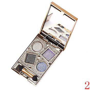 Cosmetic 4 Colours Nude Makeup Sparkly Diamond Eye Shadow Palette with Mirror and Brush - 02