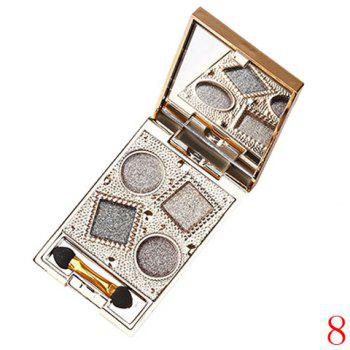 Cosmetic 4 Colours Nude Makeup Sparkly Diamond Eye Shadow Palette with Mirror and Brush