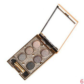 Cosmetic 6 Colours Sparkly Diamond Earth Tone Eye Shadow Palette with Mirror and Brush