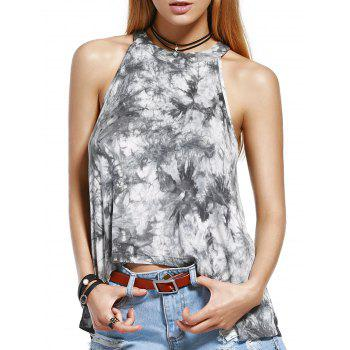 Stylish Round Neck Tie Dye Print Tank Top For Women