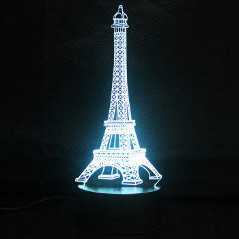 Gradient Color 3D Eiffel Tower Shape Touch Switch LED Night Light - SILVER SILVER