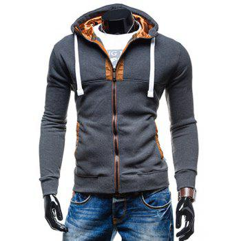 Drawstring Hooded Long Sleeve Selvedge Embellished Men's Hoodie