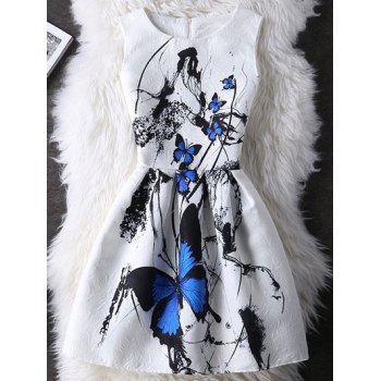 Graceful Butterfly Pattern High-Waist Dress For Women