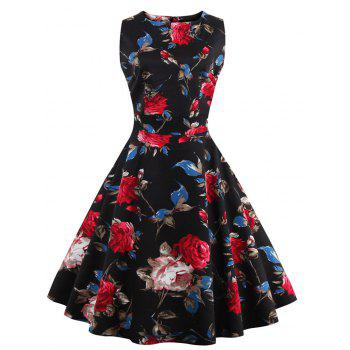 Vintage Sleeveless Floral Pattern Women's Dress