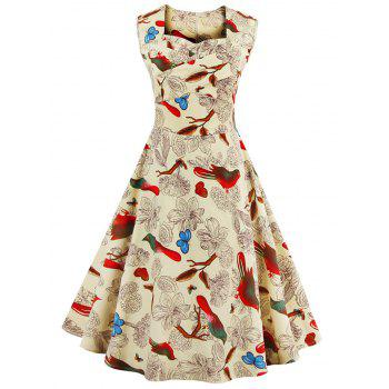 Sweetheart Neck Floral and Bird Vintage Dress