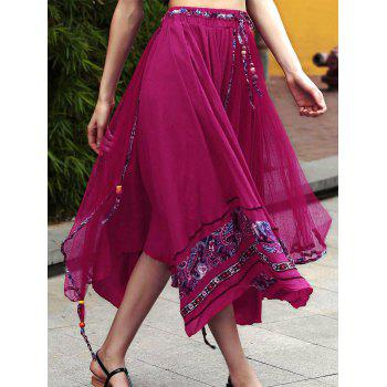Stylish Overlayed Irregular Women's Full Skirt - ROSE ONE SIZE(FIT SIZE XS TO M)