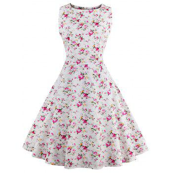 Sleeveless Tiny Floral 50s Swing Dress