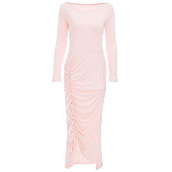 Elegant Women's Boat Neck Pink Ruffled Long Sleeve Maxi Dress