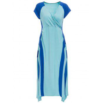 Trendy V-Neck Short Sleeve Blue Dress For Women
