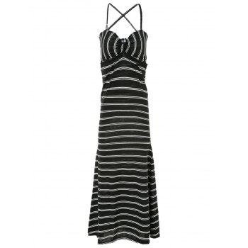 Sexy Women's Spaghetti Strap Backless Striped Maxi Dress