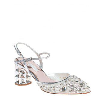 Stylish Rhinestone and Satin Design Sandals For Women
