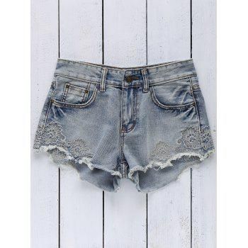 Stylish High Wasit Embroidery Denim Women's Shorts