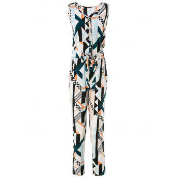 Elegant Sleeveless Geometric Print Women's Jumpsuit