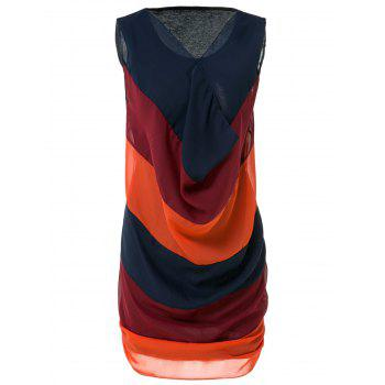 Casual V-Neck Sleeveless Color Block Spliced Women's Dress