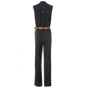 Elegant Women's Stand Collar Candy Color Sleeveless Jumpsuit - BLACK BLACK