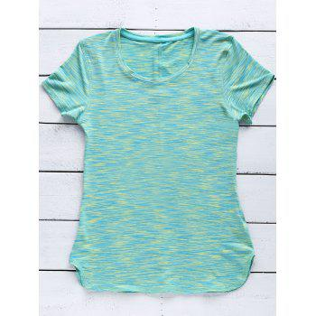 Sporty Women's Scoop Neck Space-Dyed Yoga Top - GREEN GREEN