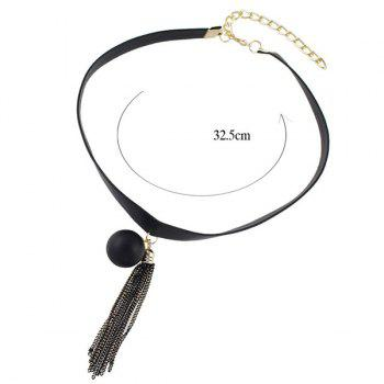Ball Tassel PU Leather Necklace - BLACK