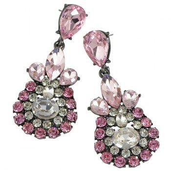 Pair of Vintage Faux Crystal Rhinestone Water Drop Earrings For Women - PINK