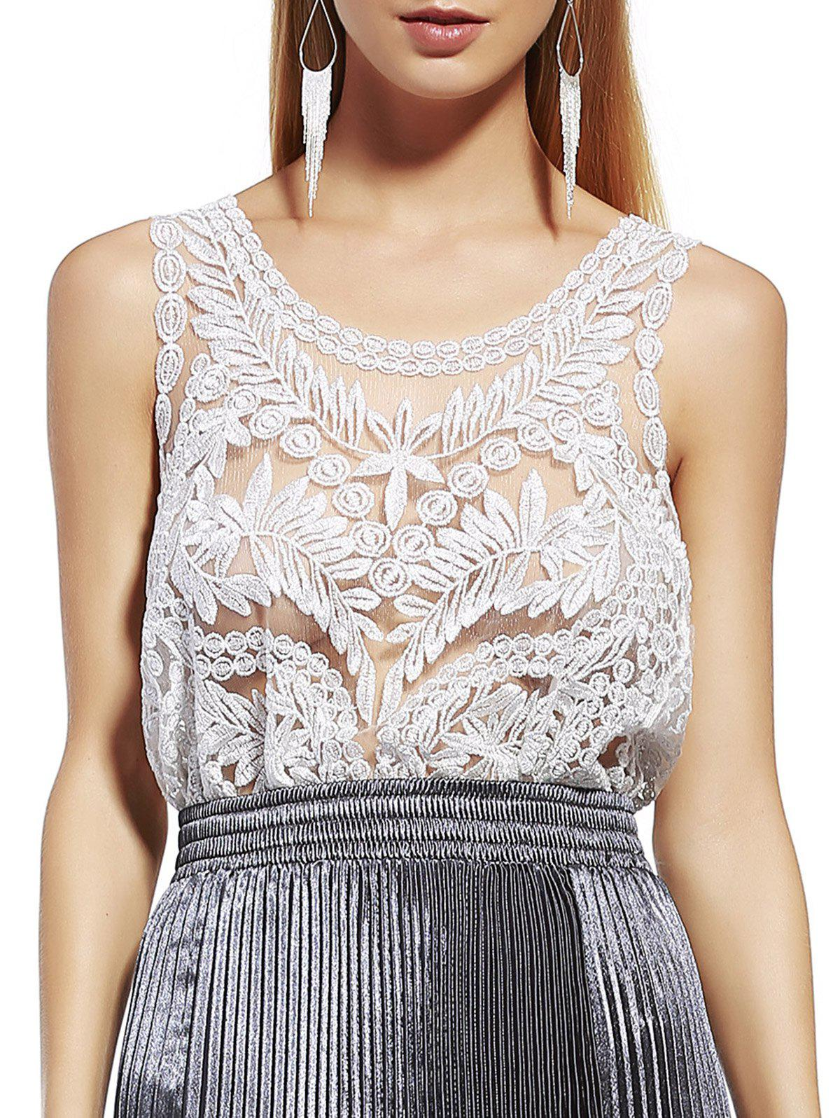 Stylish Women's Scoop Neck Silk Thread Lace See-Through Sleeveless Blouse - WHITE GOLDEN ONE SIZE(FIT SIZE XS TO M)