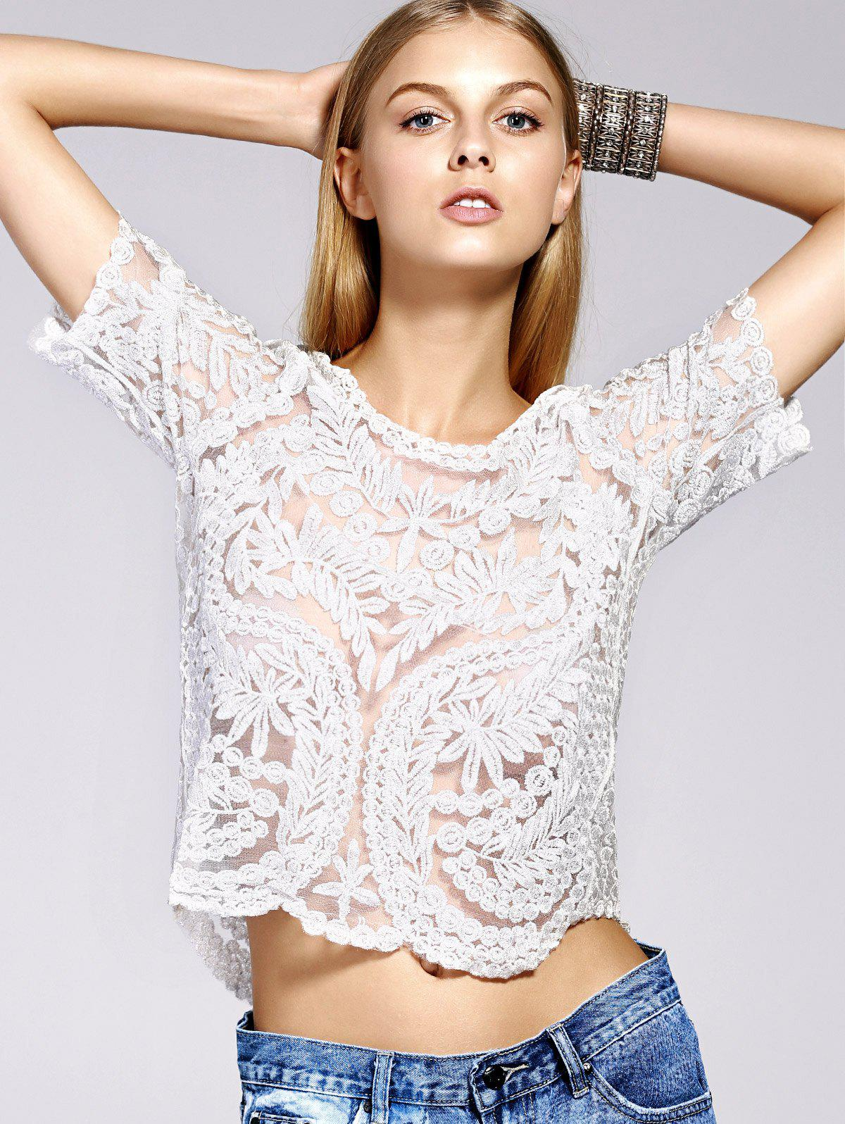 Stylish Women's Scoop Neck Silk Thread Lace See-Through Short Sleeves Blouse - WHITE GOLDEN ONE SIZE(FIT SIZE XS TO M)
