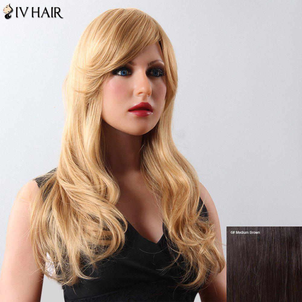 Women's Fluffy Long Siv Hair Human Hair Wig