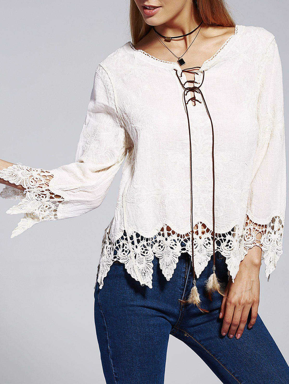 Bohemian Women's V-Neck Lace-Up Lace Panelled Nine-Minute Sleeves Blouse