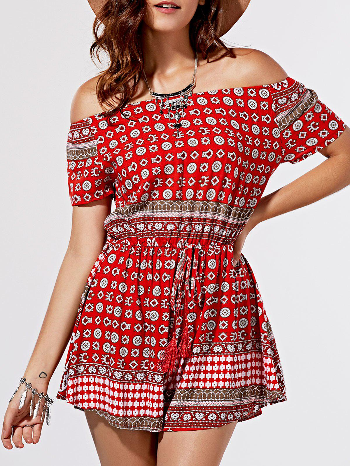 Ethnic Style Totem Print Off The Shoulder Romper For Women - RED XL