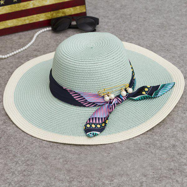 Chic Printed Scarf and Faux Pearl Embellished Wide Brim Sunscreen Women's Straw Hat - MINT GREEN