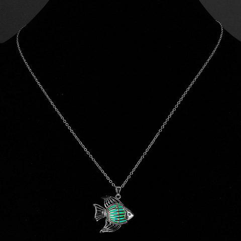 Fish Cut Out Noctilucent Necklace - CYAN
