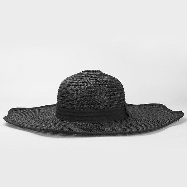 Chic Seaside Travelling Wide Wavy Brim Sunscreen Women's Straw Hat - BLACK