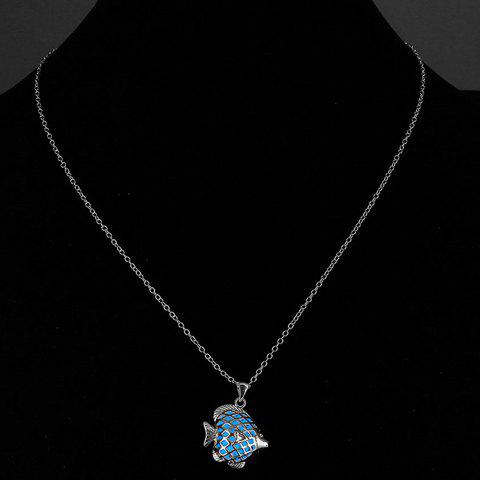 Trendy Hollow Out Fish Noctilucent Necklace For Women - BLUE